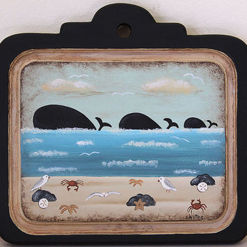 Beach Folk Art Primitive Painting on Wood Plaque -READY TO SHIP- Nautical theme, Three Whales, Seagulls, Crabs, Starfish, Sand Dollars, Blue