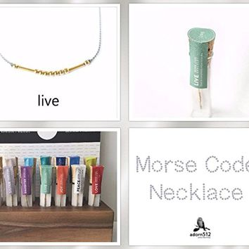 Morse Code Live Necklace 14K Gold Filled Beads Spell Live Artisan Morse Code Jewelry Gift