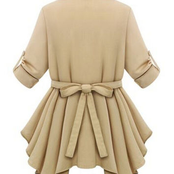 Khaki Short Sleeve Shirt Collar Bowtie Pleated Back Asymmetric Top
