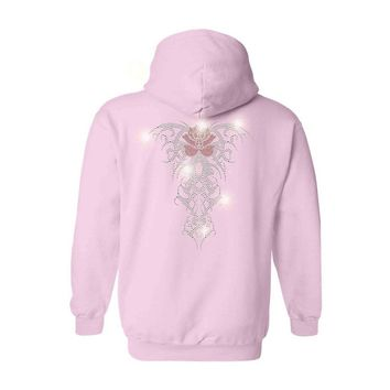 Women's Zip UP Hoodie Rhinestones Angel Wings Tribal with Red Rose