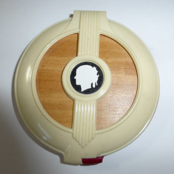 Vintage Art Deco Celluloid Compact Face Powder Carved with Cameo Face Creme and Red Textured 1940s Great Find