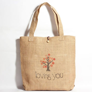 Straw Bag - Hand Drawn Apple Tree Pattern Straw Tote Bag - Made to Order