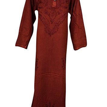 Womens Caftan Dress Red Stonewashed Rayon Embroidered Maxi Dresses XL