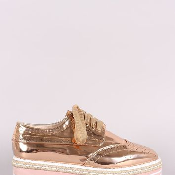 Perforated Patent Lace Up Flatform Oxfords