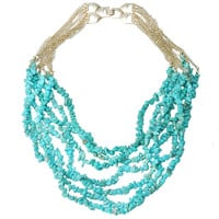 Mini Turquoise Clusters Strands Bib Chain Necklace