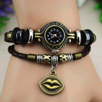 Vintage Style Leather Belt Watch with a Hot Lip Pendant B039