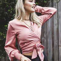 Pink Wrap Around Bow Long Sleeve Button Blouse