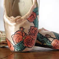 Pointe Shoes, Red and Teal, Rose and Mehndi, Hand Dyed, Valentine's Day Gift
