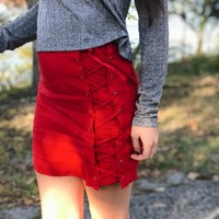Red Lace Up Skirt