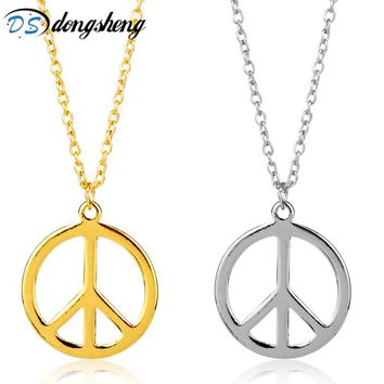 dongsheng Fashion Peace Symbol Long Chain Necklaces & Pendants for Women Men Jewelry Vintage Peace Sign Hip Hop Choker -30