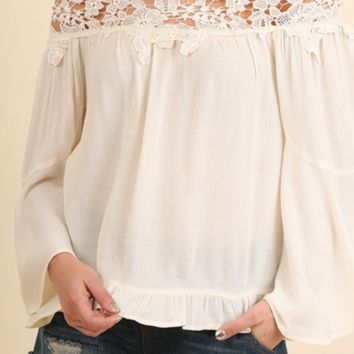 Off the shoulder top with bell sleeves