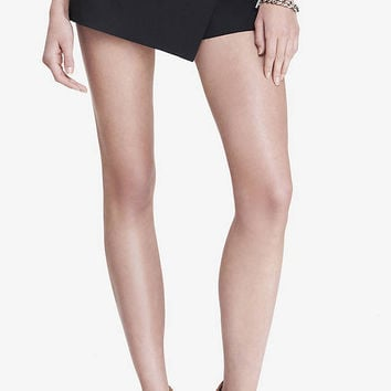 ULTIMATE DOUBLE WEAVE FAUX WRAP SKORT - BLACK from EXPRESS