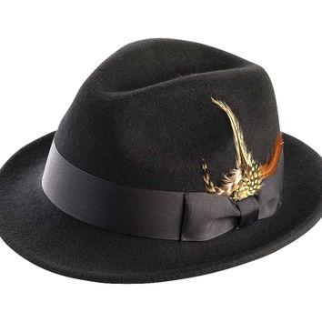 Men's Snap Brim Crushable Fedora Felt Hat H-10