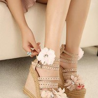 Flower Wedge Sandals  from sniksa