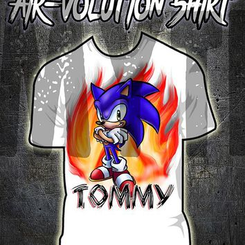 LC005 custom personalized airbrush Sonic Boom Tee Shirt Gamer