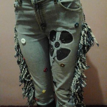 Levis 519 Low Stretch Denim Jeans, Embellish Womens Jeans Size 11, One of a Kind