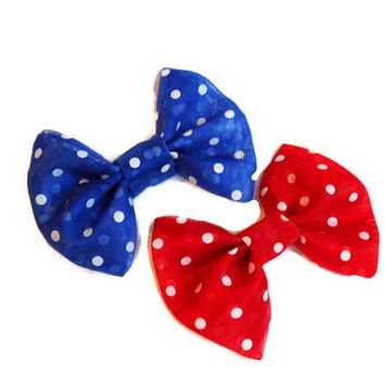 Blue and red organza bow set - white polka dot bows - sheer hair clips - navy blue cherry red - girls hairbow - rockabilly pin up style