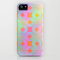 Idun Goddess of Youth iPhone & iPod Case by Gréta Thórsdóttir #floral #youth #ikat  #ethnic #zigzag #coral #mint #iphone