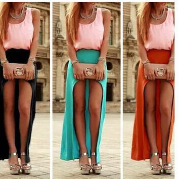Irregular Sexy Hole Beach Pure Color Long Skirt