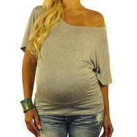 Grey Maternity Tops-Too Jewel For School