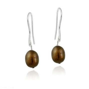 Stainless Steel Baroque Freshwater Cultured Chocolate Pearl Dangle Earrings