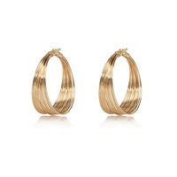 River Island Womens Gold tone twisted wire hoop earrings