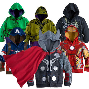 2016 Boys the Avengers Kids Jacket Children's Coat Super Hero Captain America outerwear & coats Boys Children Clothing