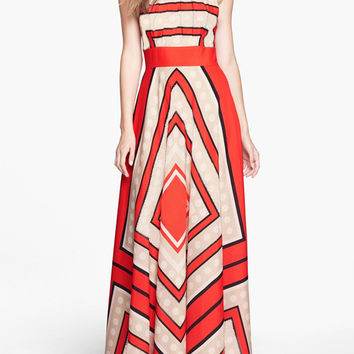 Red Halter Self-Tie Striped A-Line Pleated Maxi Dress