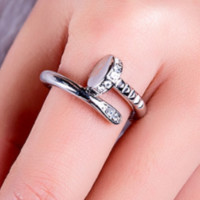 New personality nail ring female fashion ring with diamond ring