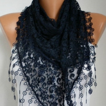 BIG SALE Black Lace Scarf -  Shawl Scarf Women Scarves Cowl Scarf Bridesmaid Gift - fatwoman