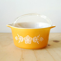 Vintage White Pyrex 473 Butterfly Gold Large Casserole Dish Refrigerator Dish Baking Dish