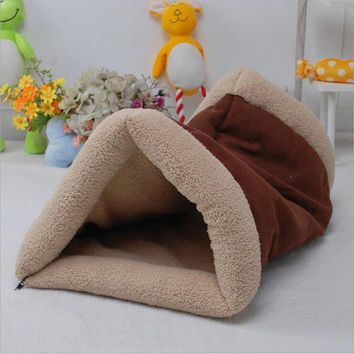 New Arrival Pet Dog House Foldable Soft Winter Brown Dog Bed Tree Hole Cave Dog House Cute Kennel Dog Fleece Cat Sleeping Bag