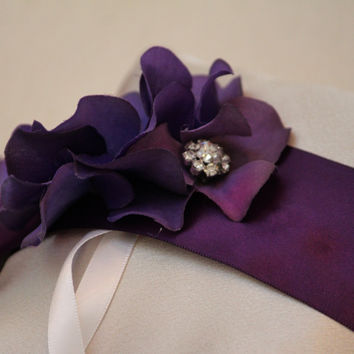 Purple Ivory Wedding, Floral Wedding Dog Accessory, Ring Bearer dog Pillow