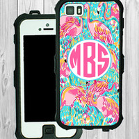 Monogram iPhone Case Personalized iPhone 5 5C Lilly Pulitzer Inspired Monogrammed Phone Case iPhone 5S Water Resistant Heavy Duty Case #2232