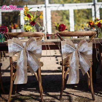 10PCS Weddings and Events Chair Sashes Lace Burlap Wedding Chair Sashes Bow High Quality Natural Chair Cover for Banquet Decor