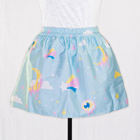 Fairy Kei Pastel Shooting Star Eyeball Light Blue Kawaii Mini Skirt