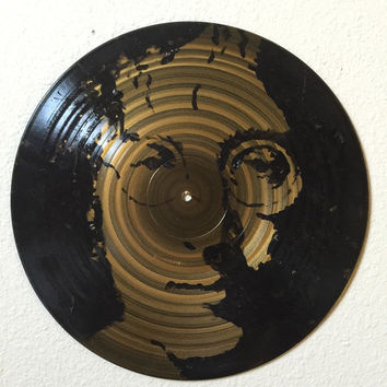 Painted Record Art john Lennon The Beatles Painted Vinyl Record Art Pop Art Painting Music Art Urban Art Rock Art