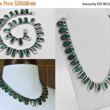 ON SALE Vintage Taxco Sterling Silver & Malachite Link Necklace, Mexico, J. Comes, Inlay, Green, Chunky, Heavy, 117 grams, Amazing! #b804