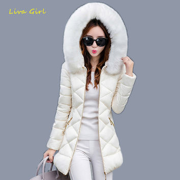 LIVA GIRL Winter Jackets 2017 New Women's Thick Warm With A Hat Faux Collar Hooded Silm Anorak Zipper Pocket Cotton Coats WJN104