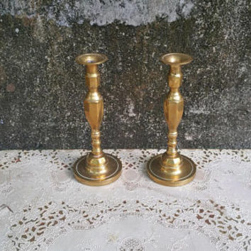 Vintage Tall Solid Brass Candlestick Pair Mantel Candle Holders Made in England