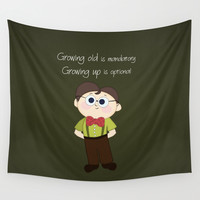Growing up and growing old a birthday nerdy cute kid illustration Wall Tapestry by Bad English Cat