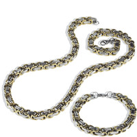 Mens Stainless Steel 8mm Gold Silver Byzantine Box Chain Necklace Bracelet Set