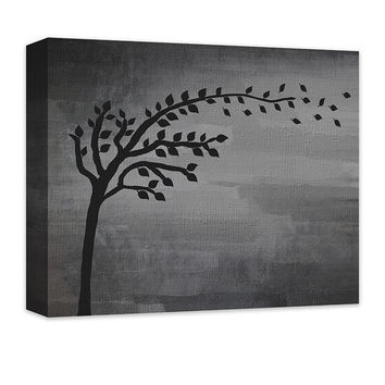 Tree with Blowing Leaves Canvas Wall Art
