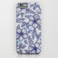 Indigo Summer - a hand drawn floral pattern iPhone & iPod Case by Micklyn