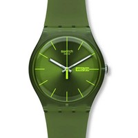 Swatch SUOG700 Unisex Olive Rebel Silicon Rubber Strap Olive Green Dial Watch