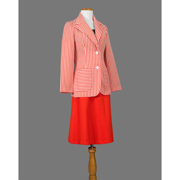 Mod 1970s Suit - 70s Skirt Suit - A Line Secretary Suit - Red and White Striped Blazer & Skirt