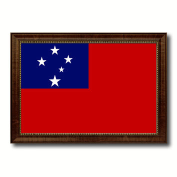 Western Samoa Country Flag Canvas Print with Brown Picture Frame Home Decor Gifts Wall Art Decoration Gift Ideas