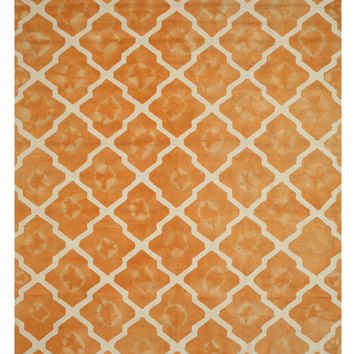 EORC Hand-tufted Wool Orange Transitional Geometric Tie-dye Moroccan Rug