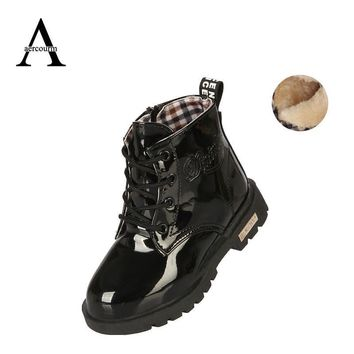 Girls' Winter Boots Waterproof Leather warm sport 21-37