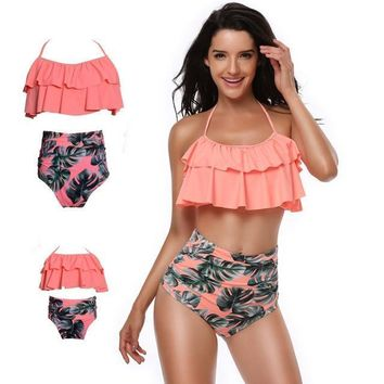 Halter Top High Waisted Bikini Mother Daughter Matching Swimsuits